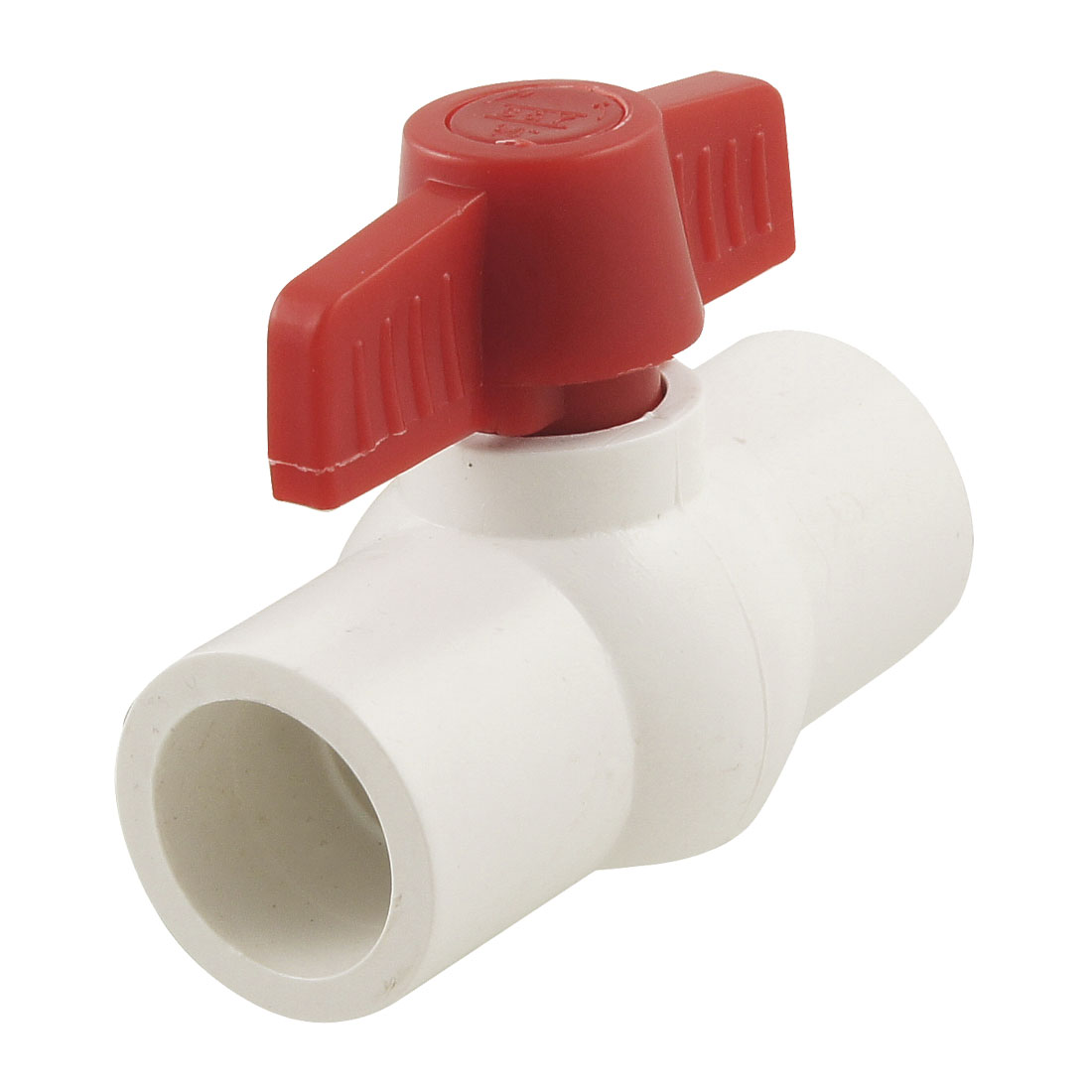 "Plumbing 1"" x 1"" Slip Ends Water Control PVC Ball Valve White Red"