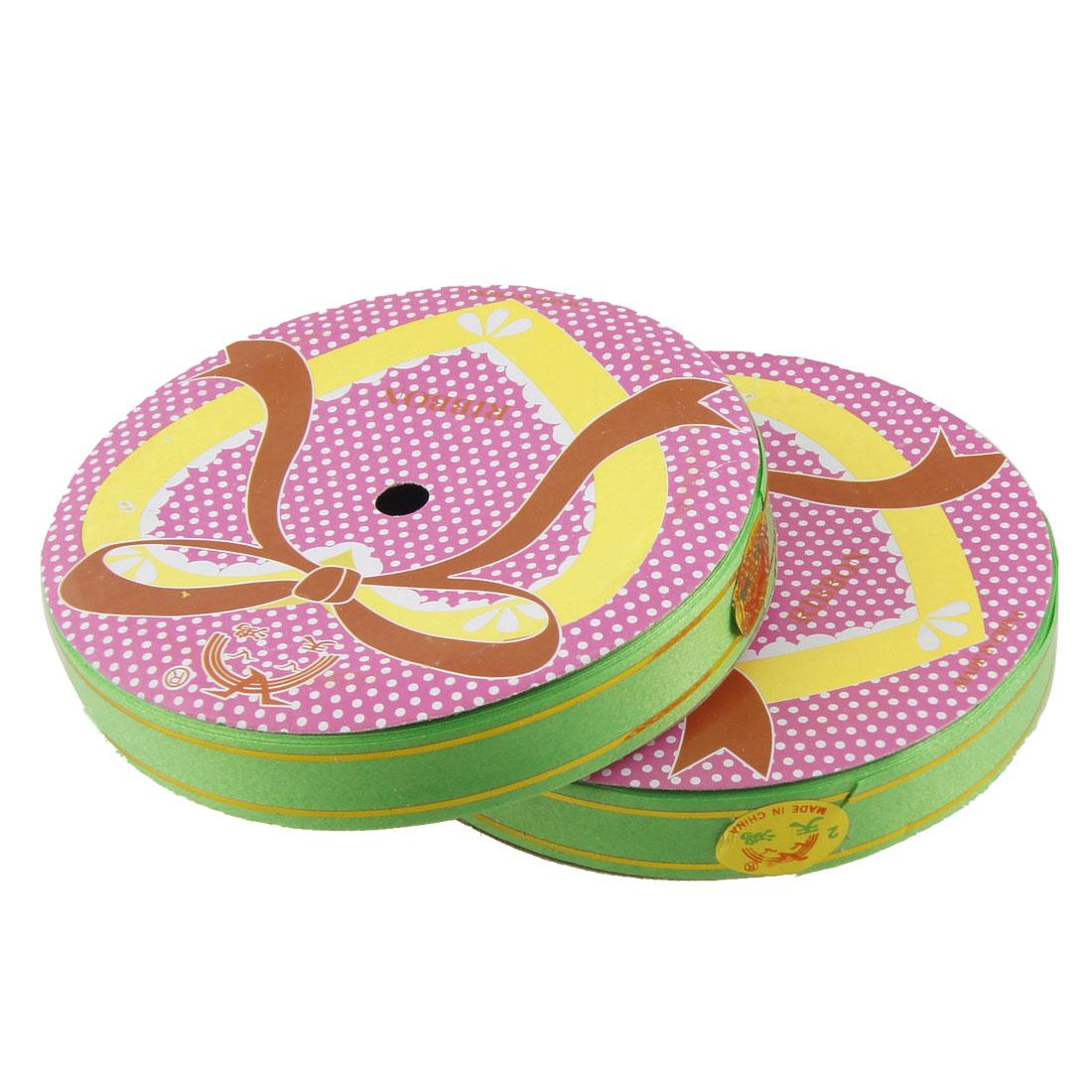 2 Pcs Dual Gold Tone Strips Decor Poly Ribbon Roll Tape Green