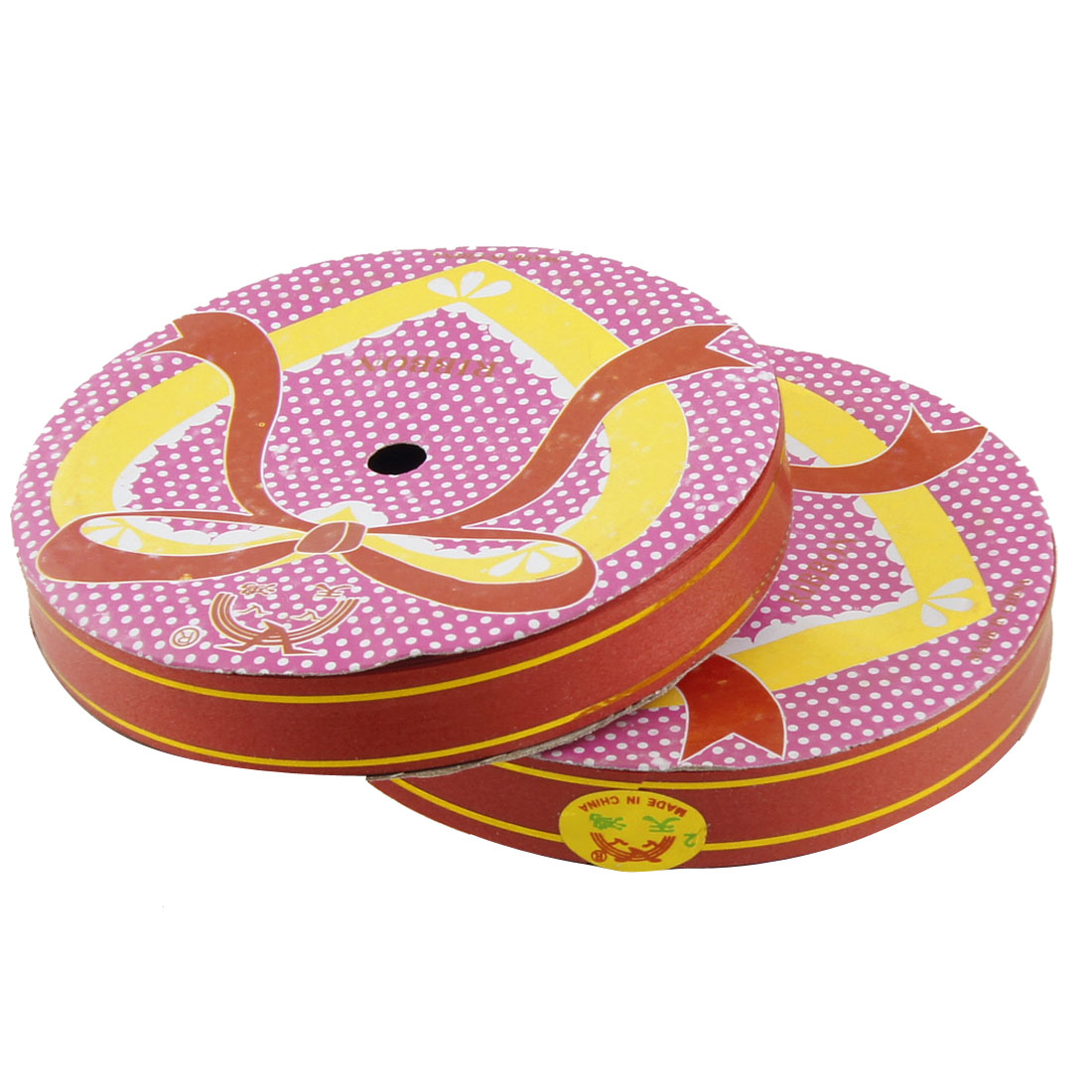 2 Pcs Red Gold Tone Double Stripes Poly Ribbon Roll Band