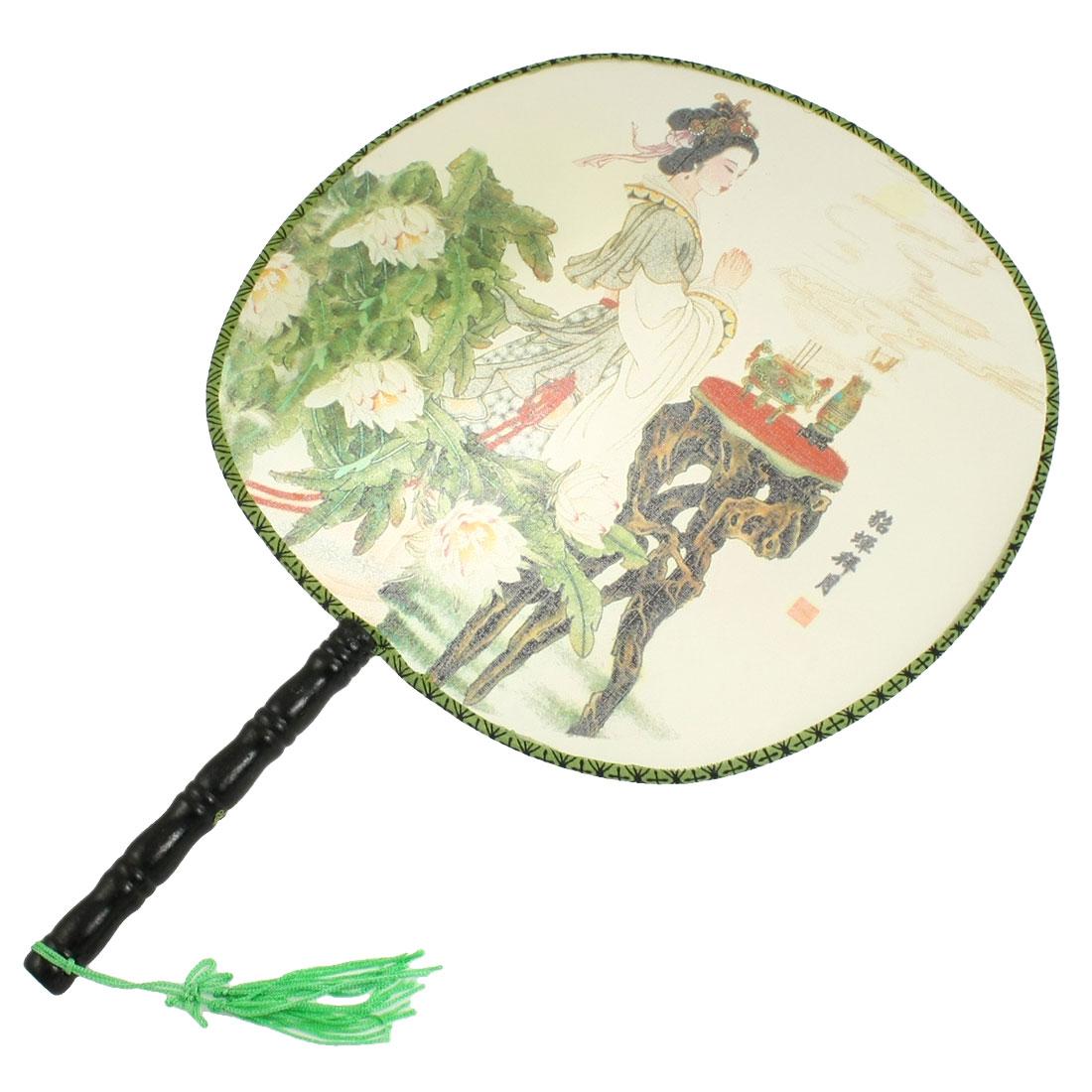 Beauty Diao Chan Print Tassel Decor Black Wooden Handle Round Hand Fan