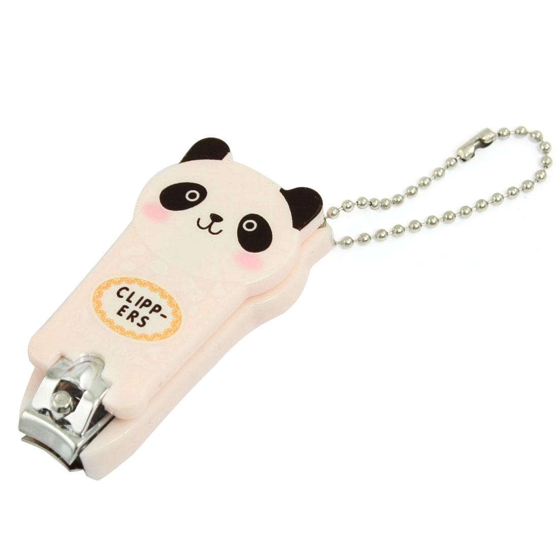 Pink Plastic Cartoon Panda Toe Cutter Nail Clipper Tool w Key Ring