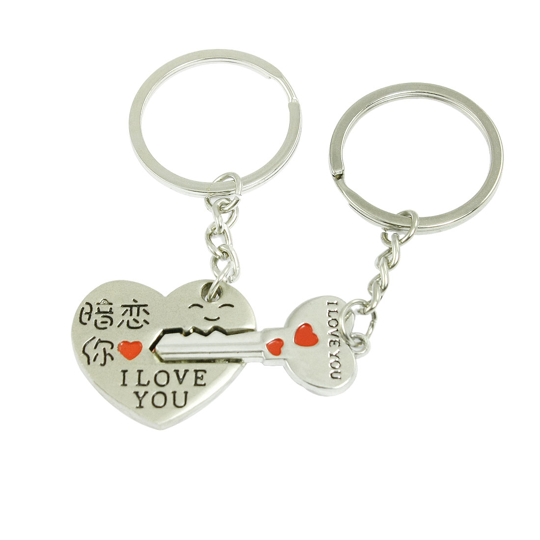 Lovers Letter Printed Heart Key Pendant Silver Tone Red Key Ring