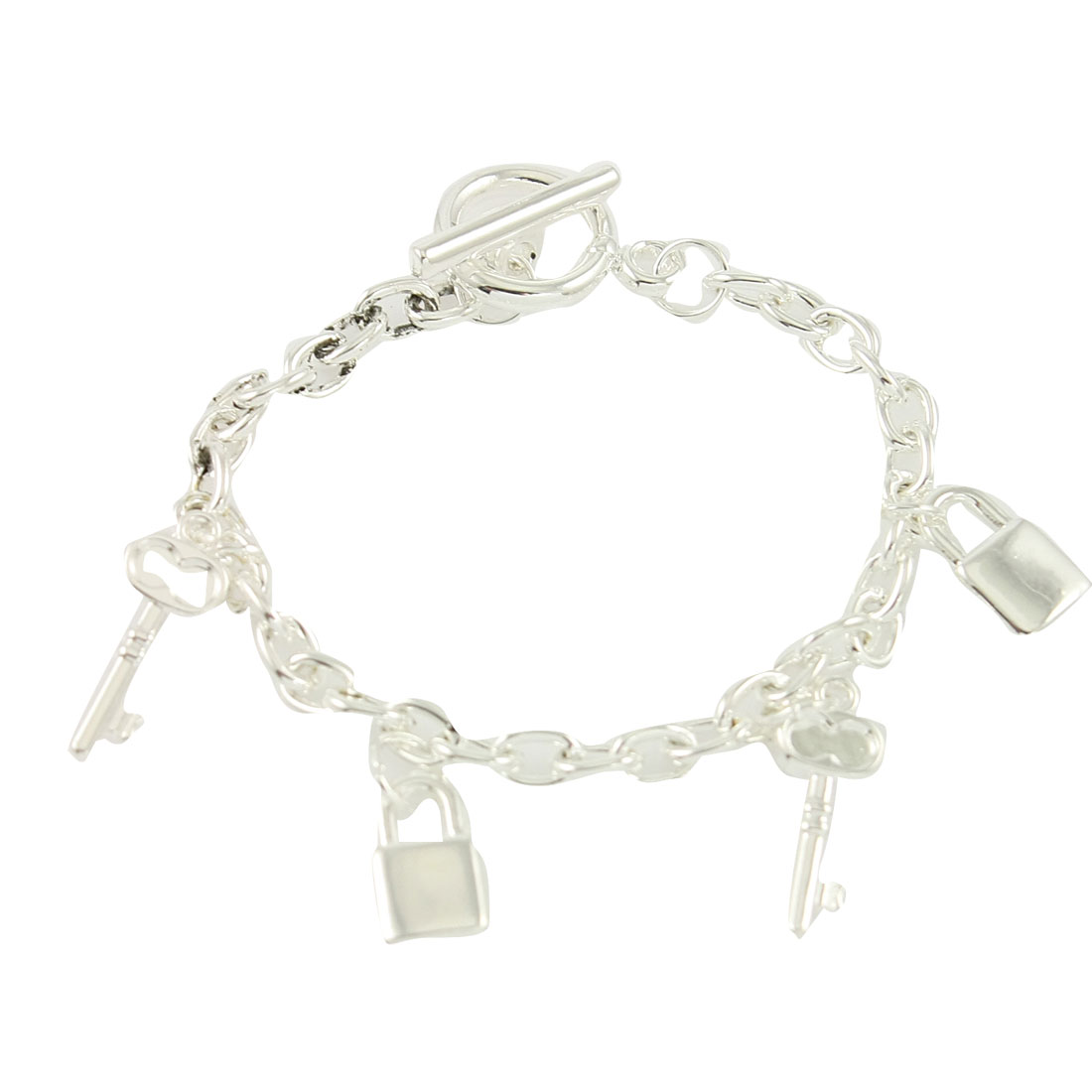 Silver Tone Lock Key Pendant Decor Bracelet Bangle for Ladies