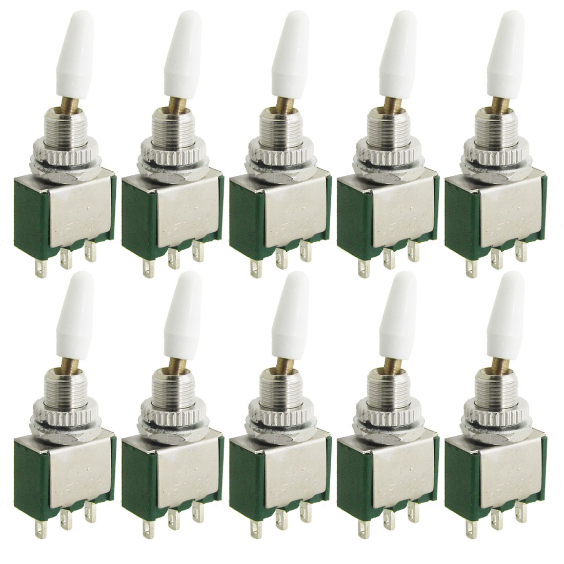 10 Pcs AC 250V 2A 3 Terminals ON/ON 2 Position SPDT Toggle Switch