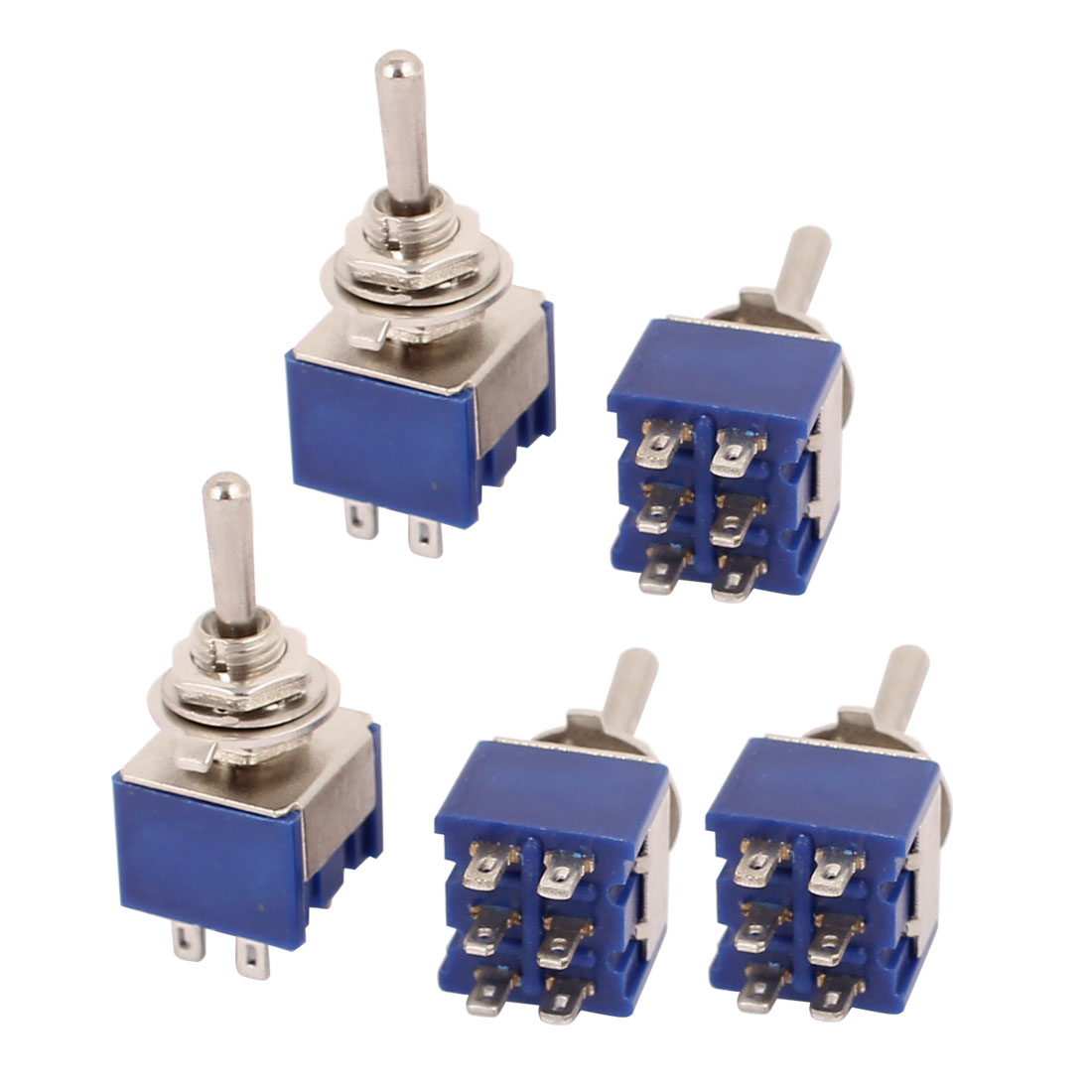 5 Pcs MTS-203 125V 6A ON/OFF/ON 3 Position DPDT 6 Pins Toggle Switch