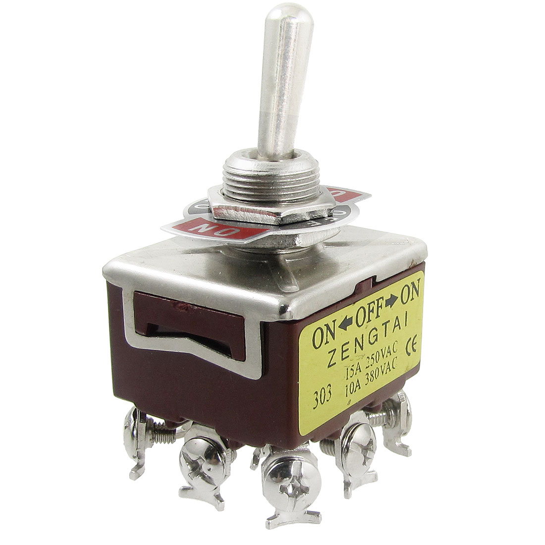 AC 250V 15A 380V 10A ON/OFF/ON 3 Position 3PDT 9 Screw Terminals Toggle Switch