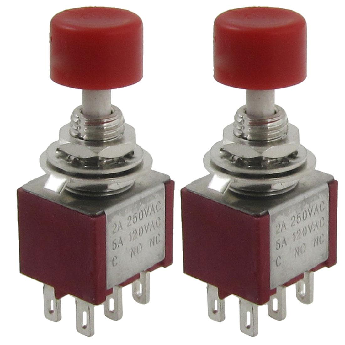 2 Pcs AC 250V 2A 120V 5A DPDT 2NO 2NC Momentary Push Button Switch