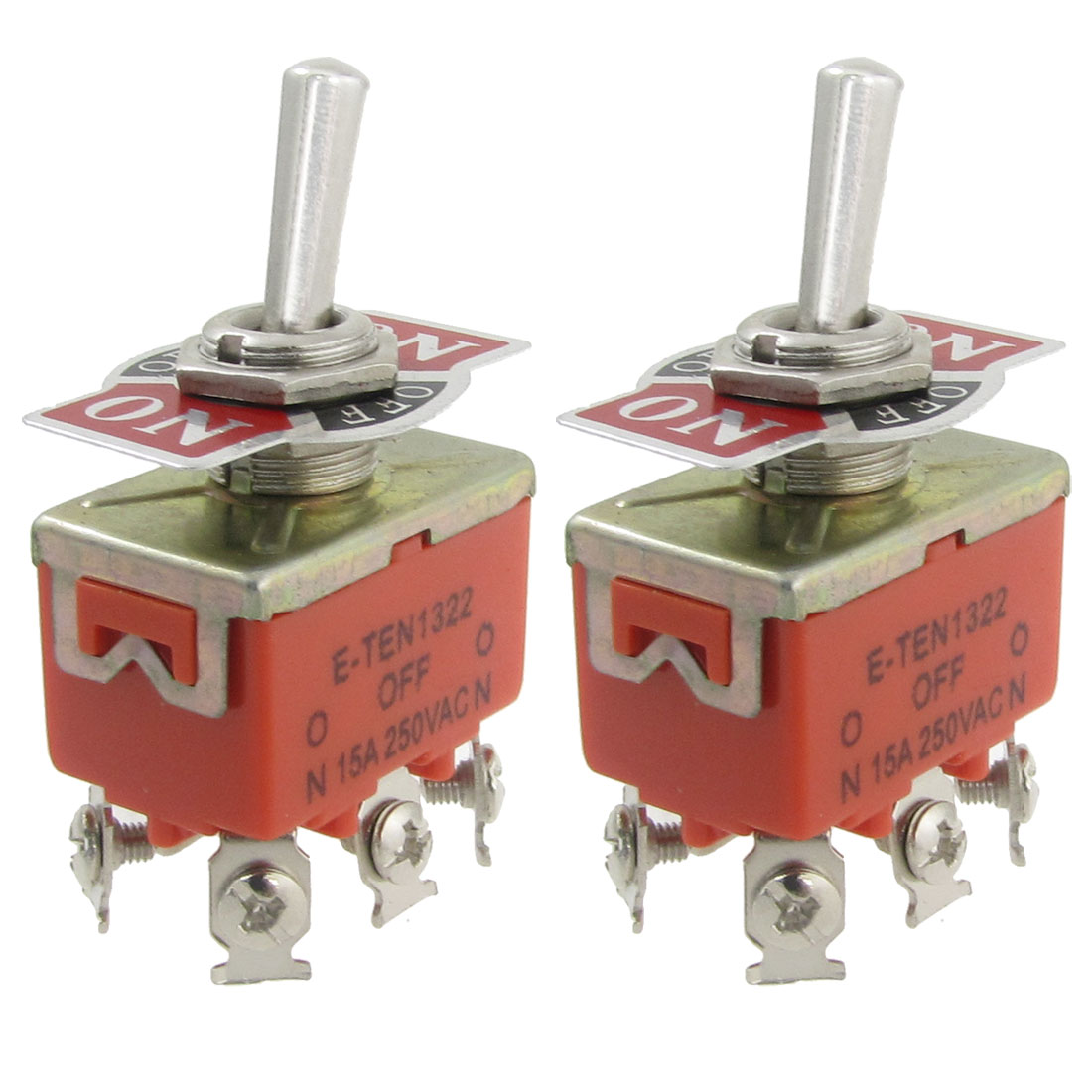 2 Pcs AC 250V 15A Amps ON/Center OFF/ON 3 Position DPDT 6 Screw Terminals Toggle Switch