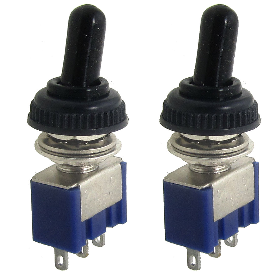 2 Pcs AC 125V 6A ON/ON 2 Position SPDT 3 Pins Mini Toggle Switch with Waterproof Boot