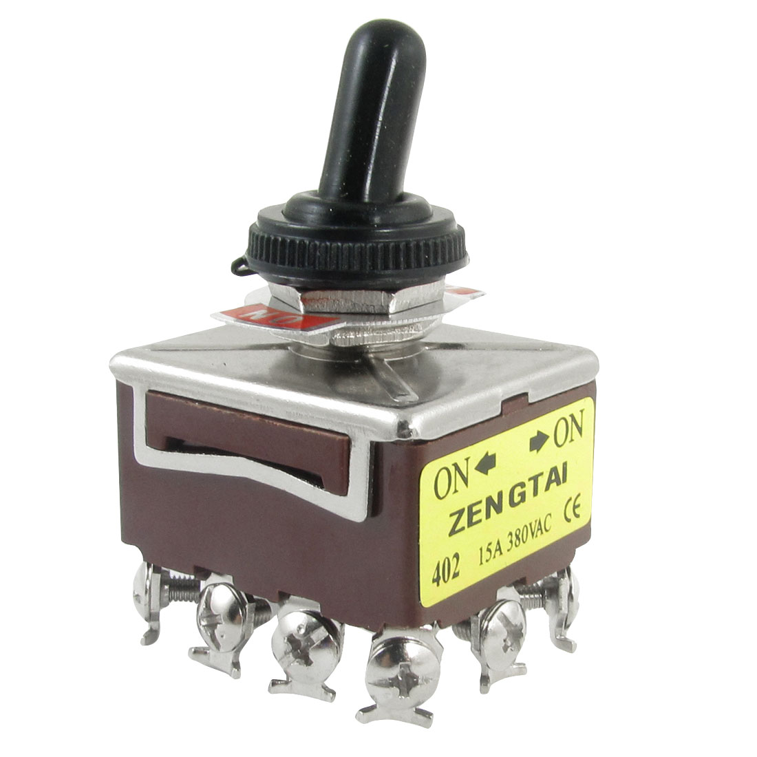 AC 380V 15A on/on 4PDT 4P2T 12 Screw Terminals Toggle Switch with Waterproof Boot