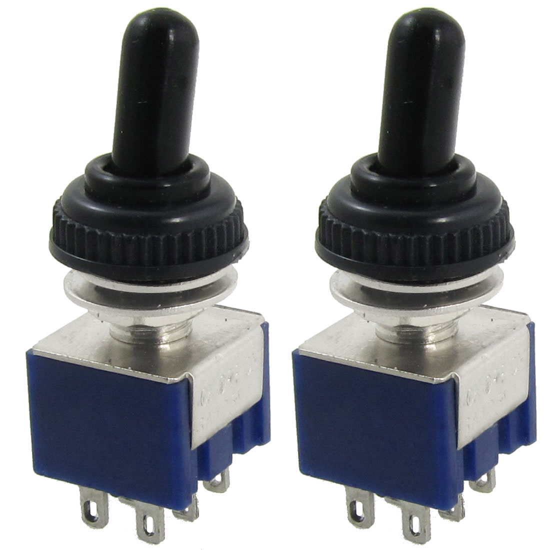 2 Pcs AC 125V 6A ON/OFF/ON 3 Position DPDT 6 Pins Mini Toggle Switch with Waterproof Boot