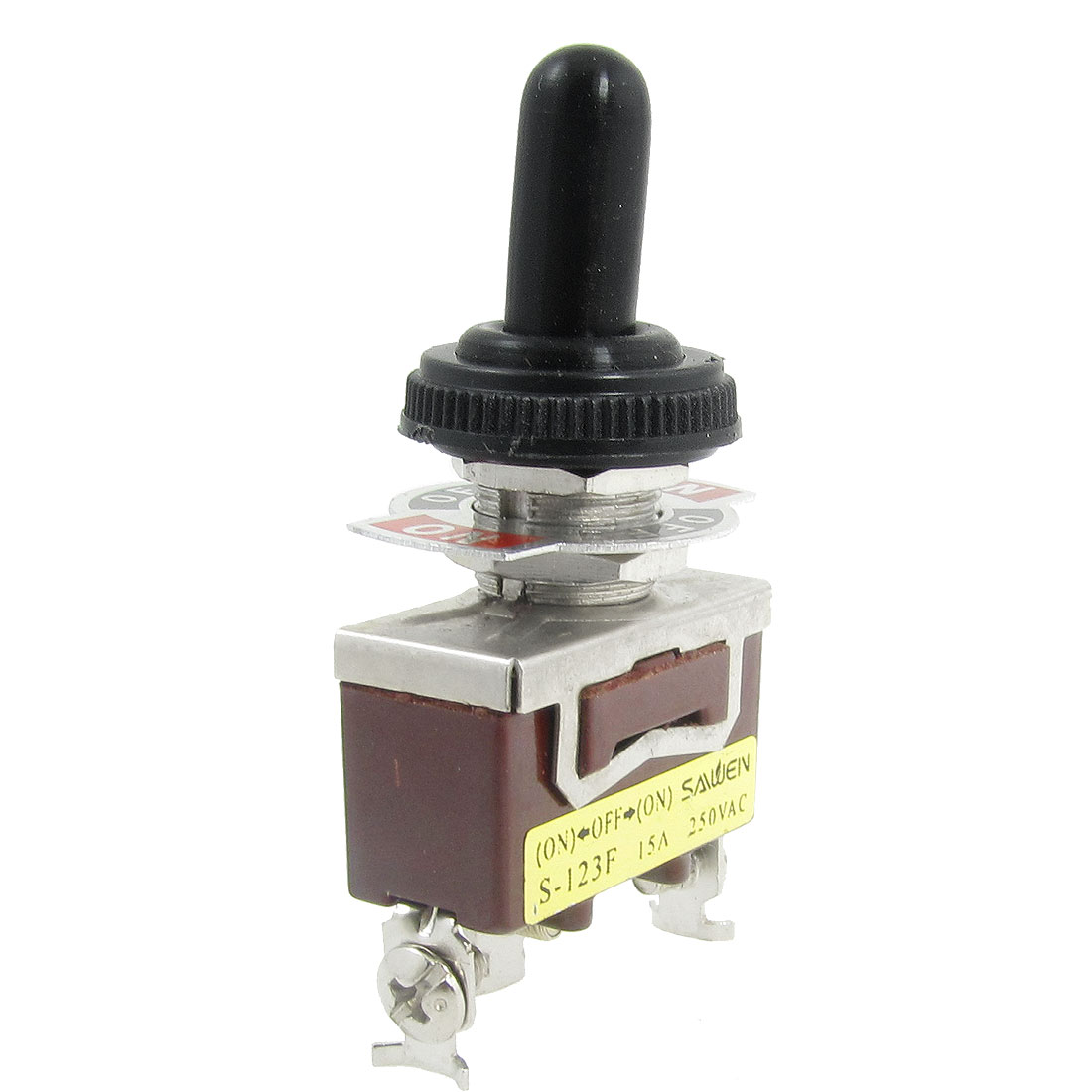 AC 250V 15A ON/OFF/ON 3 Way Momentary SPDT Toggle Switch w Waterproof Boot