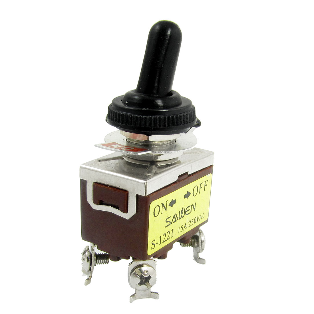 AC 250V 15A DPST On/Off 2 Way 4 Screw Terminals Toggle Switch w Waterproof Boot