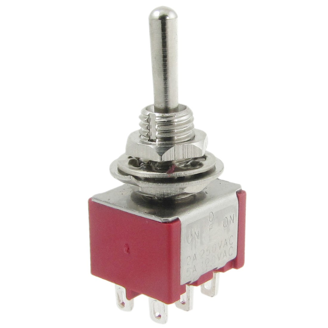AC 250V 2A 120V 5A ON/OFF/ON 3 Position 6 Pins PDT Momentary Toggle Switch