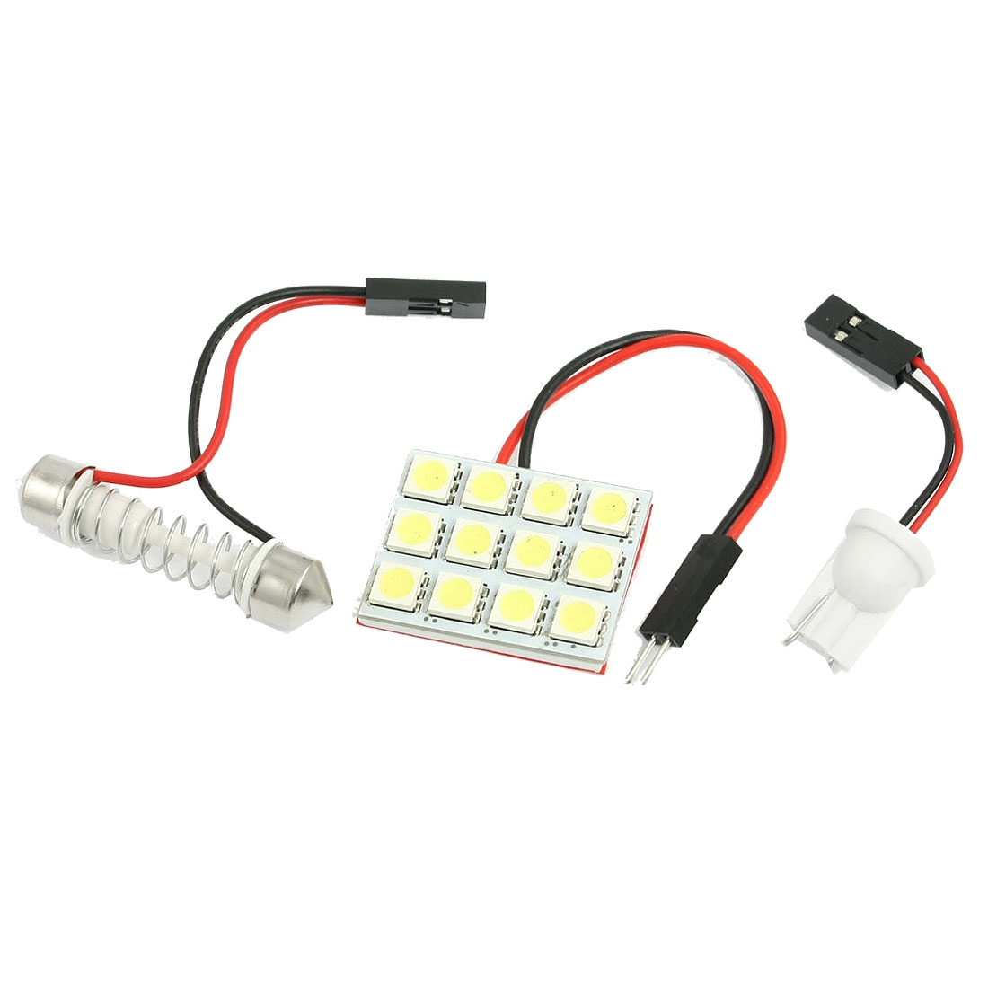 White 12 LED Panel 5050 SMD Dome Light Lamp + T10 Festoon Adapter