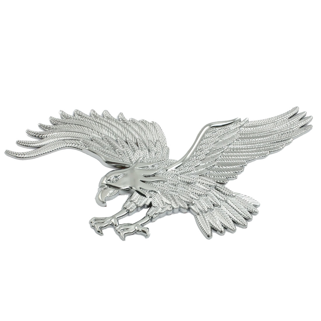 Silver Tone Flying Eagle Shaped Self Adhesive Truck Car Badge Sticker