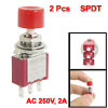2 Pcs AC 250V 2A SPDT NO NC Momentary Push Button Switch