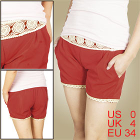 Elastic Waist Lace Hem Side Pocket Stretchy Red Shorts XS for Women