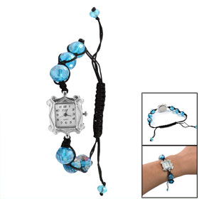Pull String Closure Faceted Blue Plastic Crystal Beaded Wristband White Dial Bracelet Watch