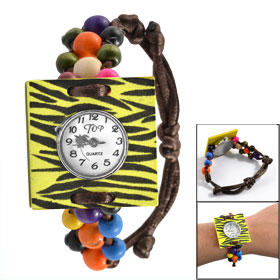 Yellow Black Zebra Pattern Square Wooden Shell Colorful Beaded Band Pull String Closure Watch