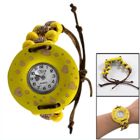 Round Yellow Arabic Display Dial Wooden Shell Adjustable Beaded Watch for Girl