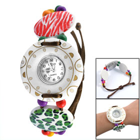 Girls Wood Pieces Colorful Beaded Adjustable Strap Watchband Round White Wooden Case Wristwatch