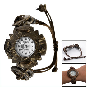 FLower Shape Brown Wooden Shell Beads Disc Adjustable Watchband Bracelet Watch
