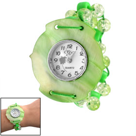 Numerals Display Dial Green Manmade Conch Case Plastic Beaded Elasticated Band Wrist Watch