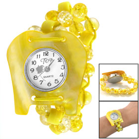 Yellow Manmade Conch Shell Numerals Display Dial Plastic Beads Elasticated Band Bracelet Watch
