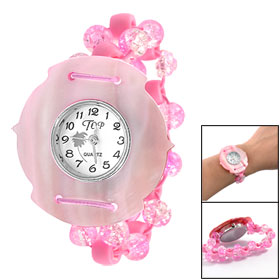 Pink Manmade Conch Case Numerals Display Dial Plastic Beaded Elasticated Band Bracelet Watch
