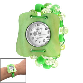 Green Clear Plastic Beaded Elasticated Watchband Manmade Conch Shell Case Braselet Watch