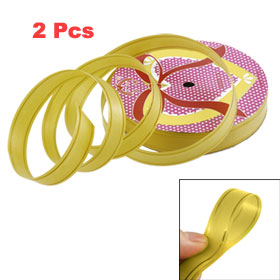 2 Pcs Gold Tone Strips Detail Yellow Poly Ribbon Roll Tape