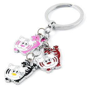 "1.2"" Diameter Single Ring Tiger Shape Pendant Key Chain Keyring Multicolor"