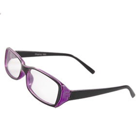 Women Rectangular Clear Lens Purple Black Plastic Full Rim Plain Glasses