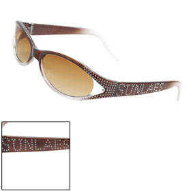 Women Rhinestone Accent Full Frame Plastic Arms Oval Lens Sunglasses
