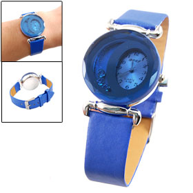 Lady Rhinestone Inside Case Single Prong Buckle Blue Band Watch