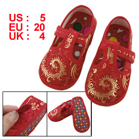 Pair Gold Tone Phoenix Pattern Hook Loop Fastener Red Baby Toddler Shoes