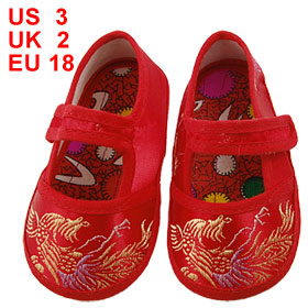 2 Pcs Sewing Phoenix Pattern Red Baby Crib Infant Shoes