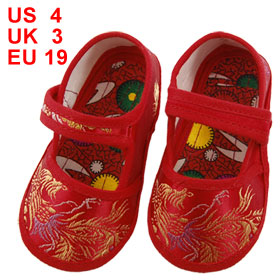 Pair Gold Tone Phoenix Pattern Red Baby Boy Girl Toddler Shoes US 4