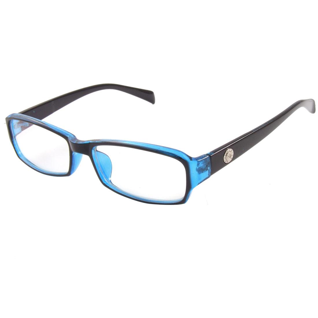 Black Arms Blue Frame Multi Coated Lens Plain Glasses Eyeglass for Ladies