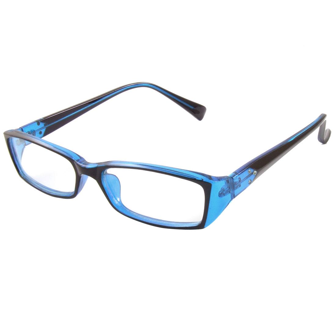 Woman Blue Black Full Frame Multi Coated Lens Plain Plano Glasses Eyeglass