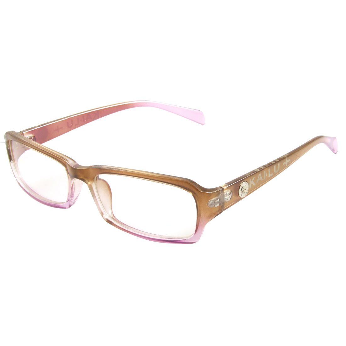 Purple Brown Letters Printed Multi Coated Lens Plain Glasses Spectacles