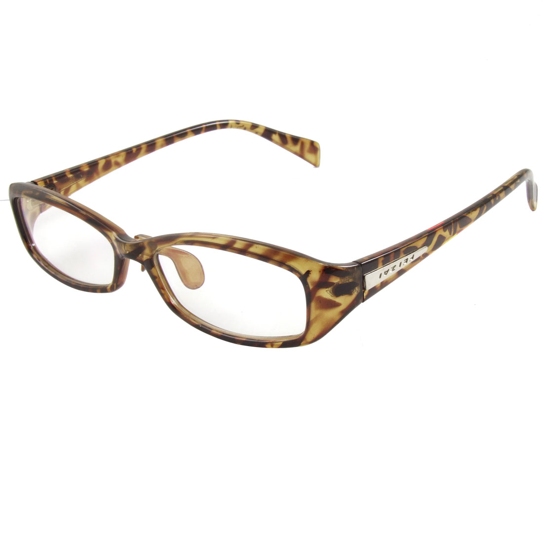 Lady Brown Leopard Pattern Multi Coated Lens Plain Plano Glasses Eyeglass