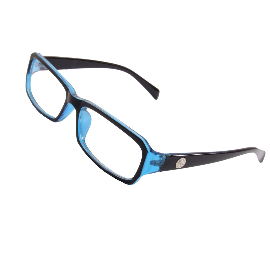 Lady Blue Black Plastic Rim Arms Multi Coated Lens Plain Glasses Eyeglasses