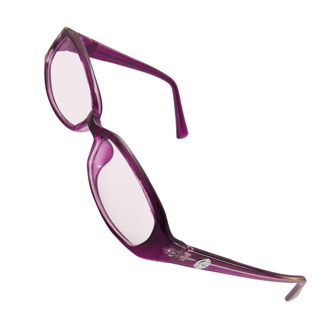 Purple Plastic Arms Rims Multi Coated Lens Plain Glasses Eyeglasses for Ladies