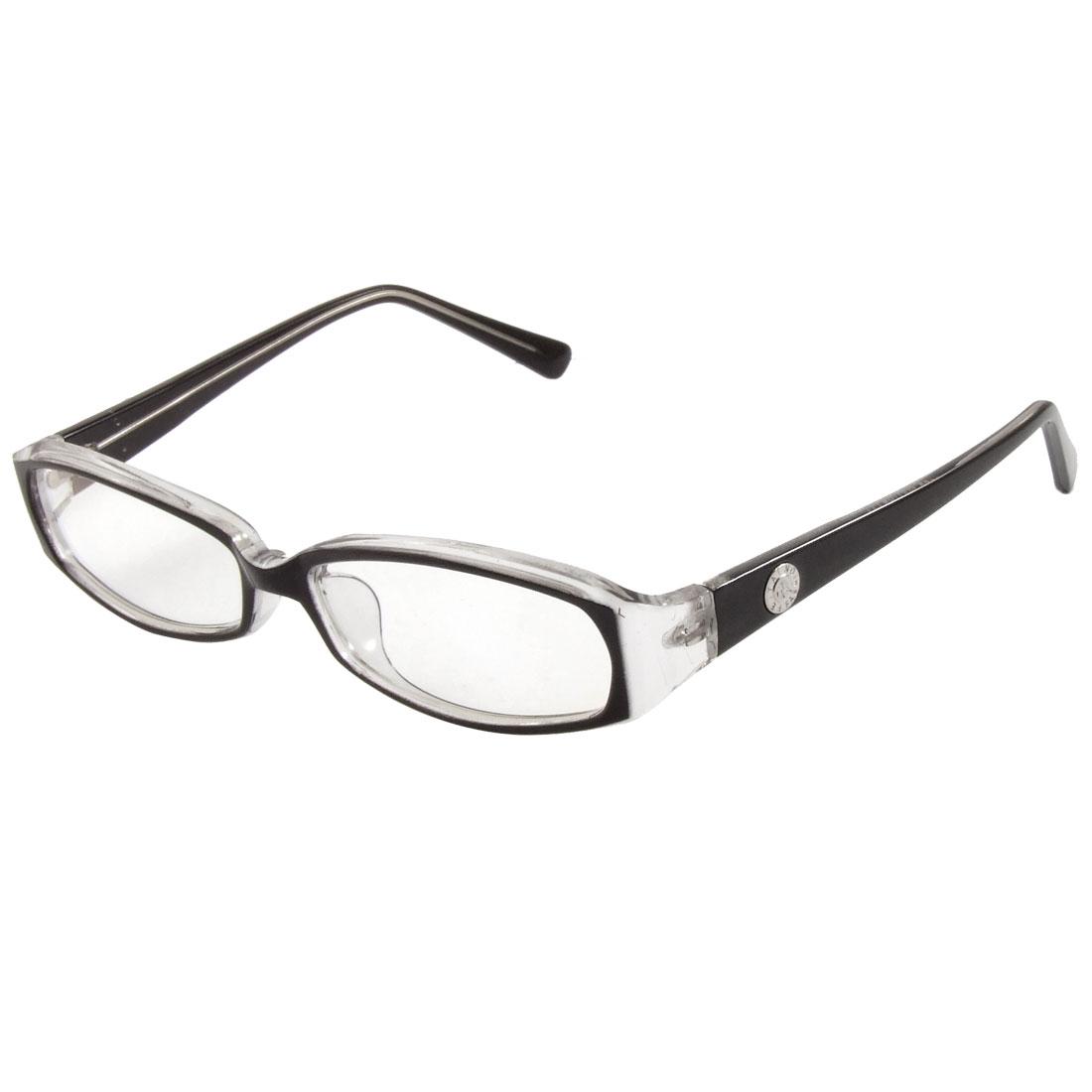 Unisex Black Plastic Arms Full Frame Multi Coated Lens Plain Plano Glasses Eyeglasses
