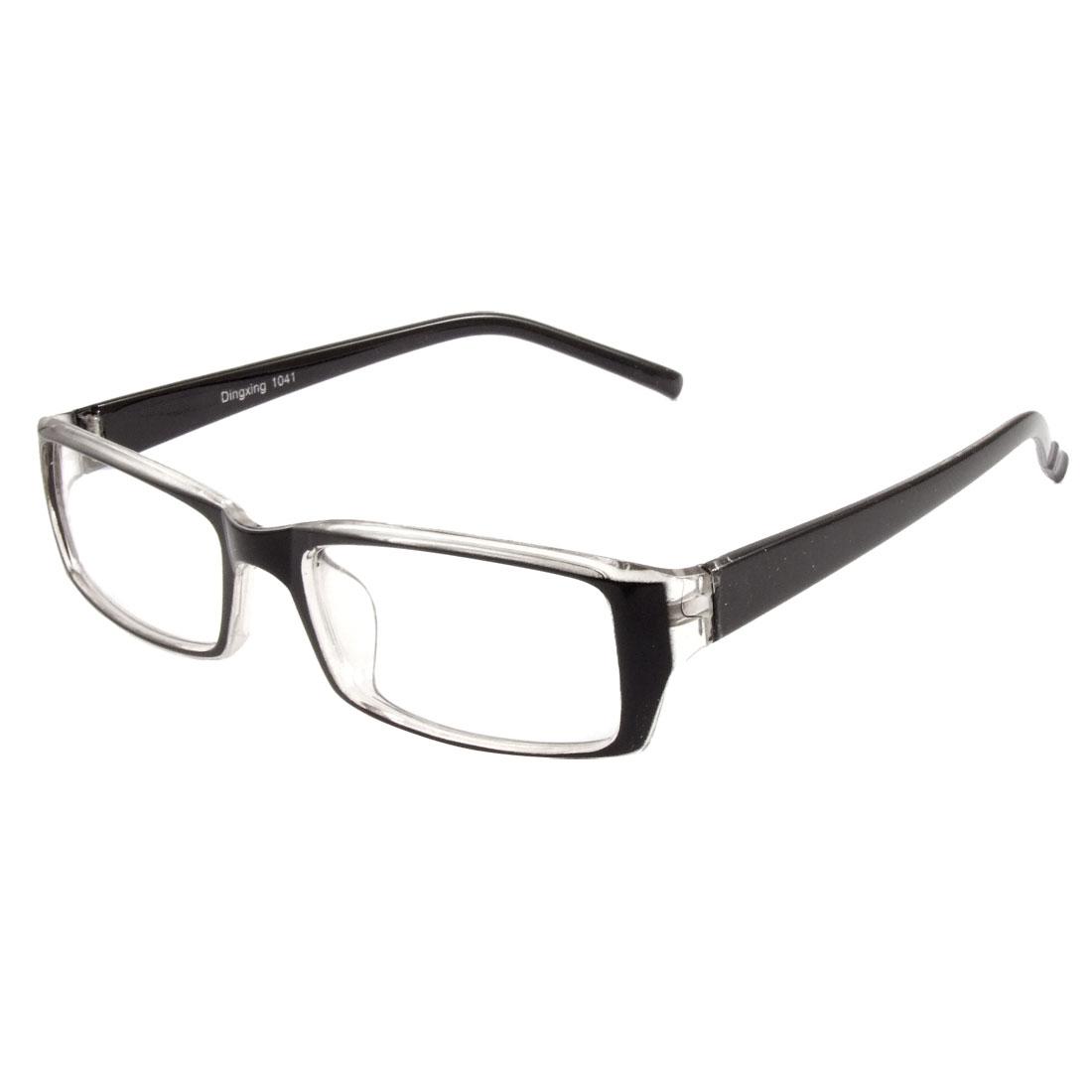 Black Full Frame Rectangle Lens Plain Plano Glasses Eyeglass for Ladies