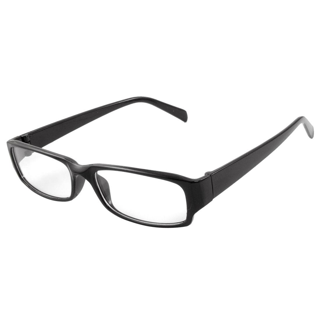 Ladies Black Wide Arm Full Rim Rectangle Lens Plain Glasses Eyeglass