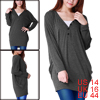 Woman Dark Gray Batwing Sleeve Button Decor V Neck Tunic Blouse L