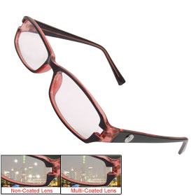 Ladies Burgundy Full Frame Multi Coated Lens Plain Plano Glasses Eyeglasses